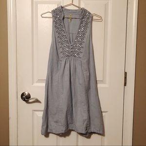 Free People Blue Sequin Eyelet Sleeveless Dress -L